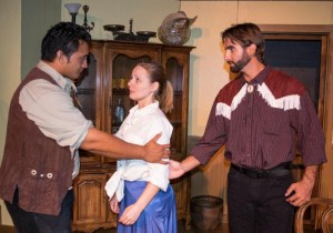 Lizzie (Rebecca Hanson) finds herself caught between the charismatic Starbuck (Ian Foster) and Deputy Sheriff File (Fili Leasau). Contributed photo