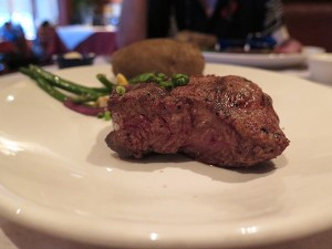 Filet Mignon. A focus on the meat meal, served with garlic mashed potatoes, rice or baked potato. Filet is the Cadillac cut, some say, and here they do it right.
