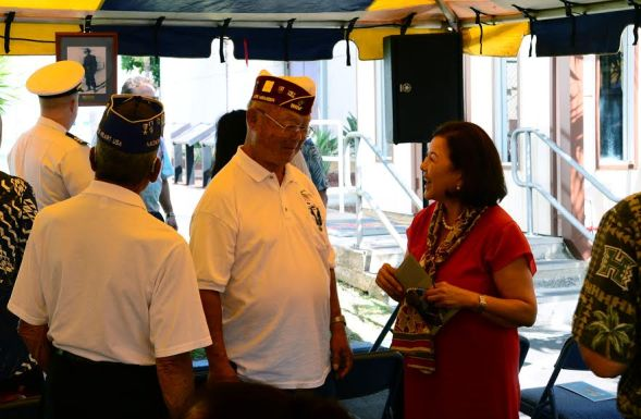 Kekaha, HI (July 20, 2016) - The late Senator Daniel K. Inouye's wife Irene Inouye talks with Daniel's fellow Battalion mates of the 442nd regiment at his naming ceremony at Pacific Missile Range Facility on Wednesday July 20, 2016. (U.S. Navy photo by Mass Communication Specialist 2nd Class Omar Powell)