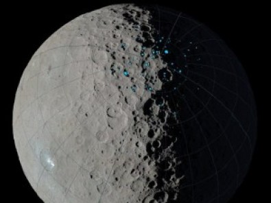 Shadowed craters on Ceres. Image courtesy of NASA/JPL-Caltech/UCLA/MPS/DLR/IDA