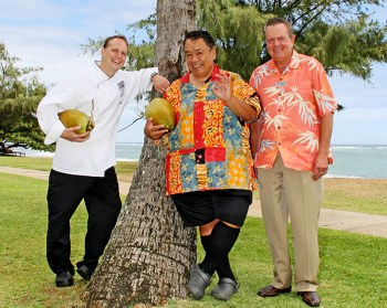Celebrity Chef Sam Choy, center, along with Chef Lucas Sautter, of Courtyard Marriott, left, will be doing cooking demos at the 20th Annual Coconut Festival at Kapa'a Beach Park Oct. 1, 2. Courtyard Marriott GM Nick Britner, right, is supporting the event with a special dinner on property Sept. 30. Photo by Léo Azambuja