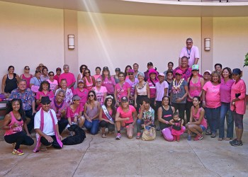 "County officials and community members came together during the 'Paint the Town Pink"" walk in Līhuʻe Oct. 26."