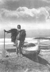 A Hawaiian fisherman wearing a malo and ahu la'i, circa 1900. Bishop Museum