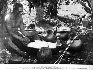 A Hawaiian man making poi, circa 1899. Thompson Publishing Co.