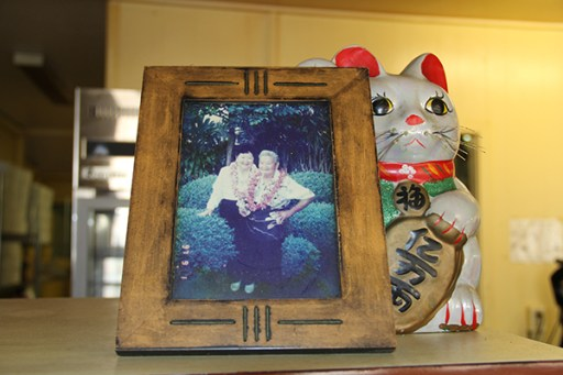 The second generation of the Hamura Saimin owners, immortalized in a framed picture at the restaurant.