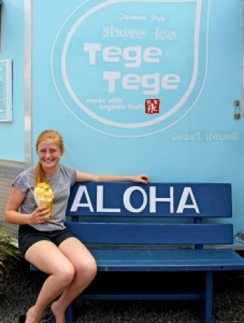 Halli Holmgren enjoying a Tege Tege shave ice.