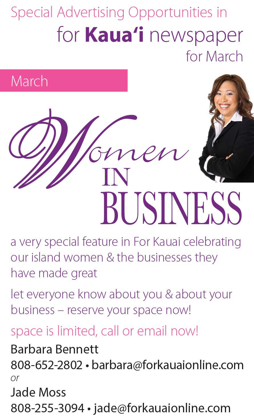 For Kauai Advertising Specials March 2017