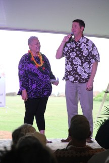 Emcee Lady Ipo Kahaunaele-Ferreira and Courtyard GM Chris Macorek