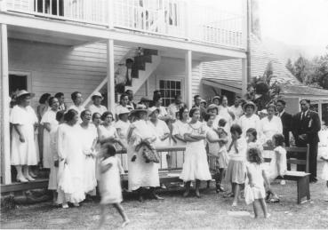 The Waioli Hui'ia Church Choir is seen here in front of the Waioli Mission House in this 1934 photograph. Photo courtesy of Waioli Corporation