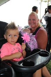 Kelly Borgett with her children, Chase Borgett, in the stroller, and Kelsey Borgett