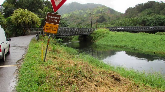 The submerged vehicle was found Saturday on the east side of the Wainiha twin bridges. Photo courtesy of Kaua'i County