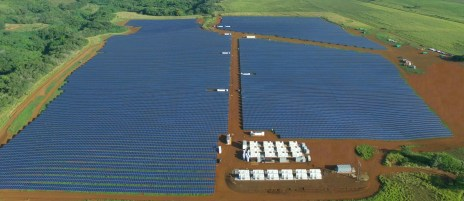 The Tesla facility features 55,000 solar panels on 50 acres of land owned by Grove Farm in Kapaia