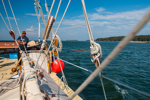 Captain Bruce Blankenfeld keeps his eye on the horizon as we make our way through the islands of Maine.