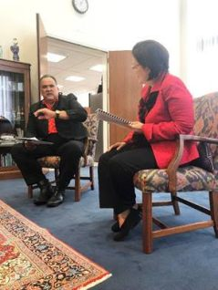 Mayor Bernard Carvalho Jr. meets with Sen. Mazie Hirono and discusses issues important to the State of Hawai'i and the County of Kaua'i and provided an update on the disaster relief efforts in working with FEMA due to the damages that occurred from the heavy April rainfall.
