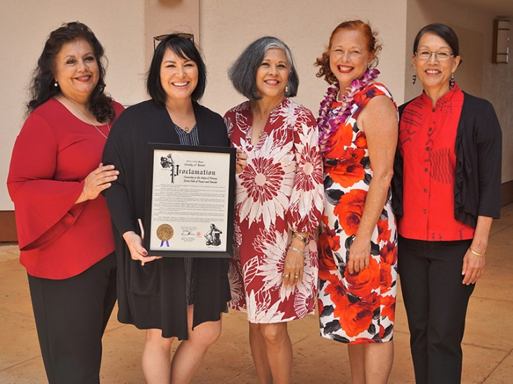 Kaua'i Committee on the Status of Women members Regina Carvalho, Erika Valente, and Edie Ignacio-Neumiller; Hawai'i State Commission on the Status of Women Kaua'i Representative Lisa Ellen Smith; and Sandra Muragin from the Office of Boards and Commissions. Contributed photo