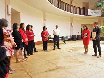 Kaulana Finn expressed remarks on behalf of Congresswoman Tulsi Gabbard at the Equal Pay Day ceremony Tuesday, held at the Līhu'e Civic Center. Contributed photo