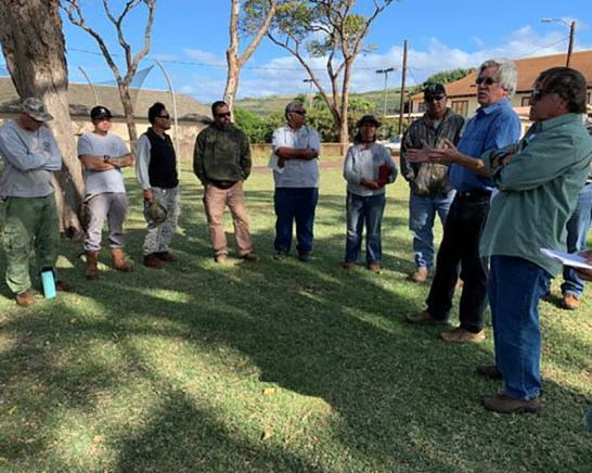 Department of Parks and Recreation staff at Captain Cook Park in Waimea take part in pesticide-free training on Feb. 20. Photo courtesy of County of Kaua'i