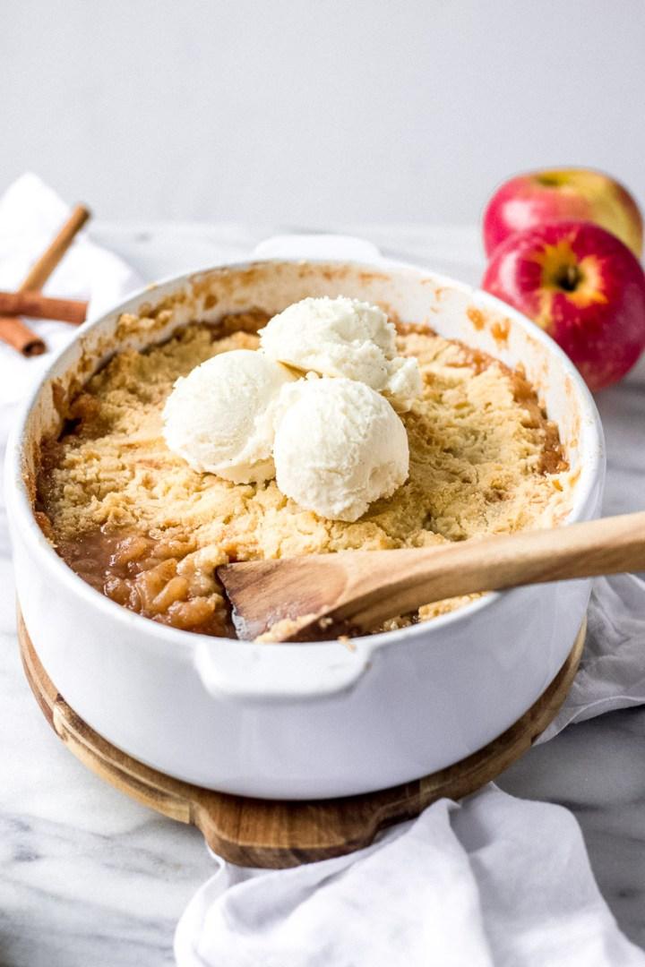 Grandma's Apple Crisp with vanilla ice cream