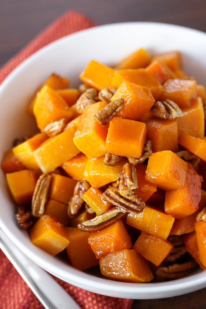 Roasted Butternut Squash with Pecan Maple Glaze