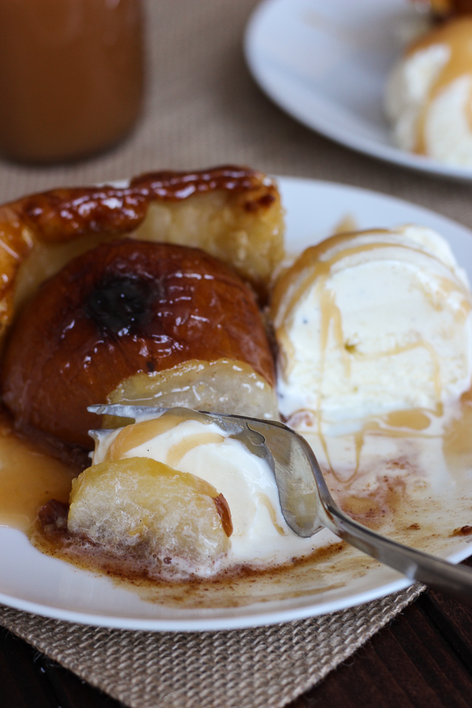 Pear Tart with Bourbon Caramel Sauce - served warm with ice cream, it's the perfect dessert!