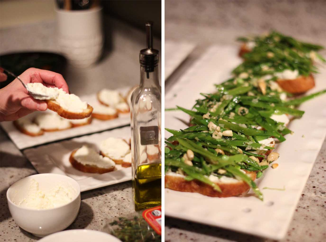 Snow Pea Crostini | Fork in the Kitchen