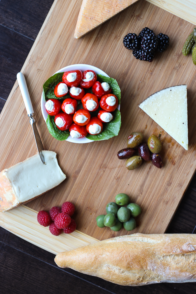 Goat Cheese Stuffed Peppadew Peppers - a super easy addition to your cheese platter or appetizers!