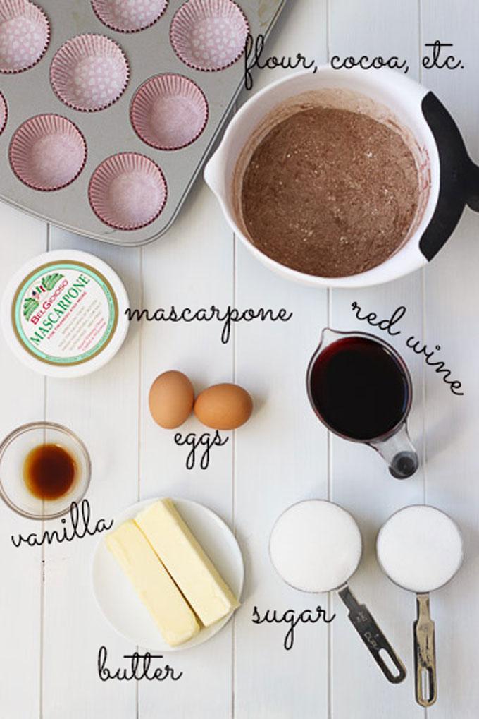 Red Wine Cupcakes Ingredients