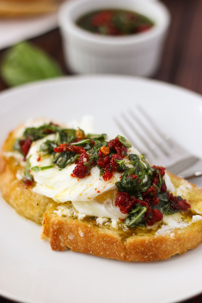 Egg, Basil, and Sun-Dried Tomato Toast // Fork in the Kitchen