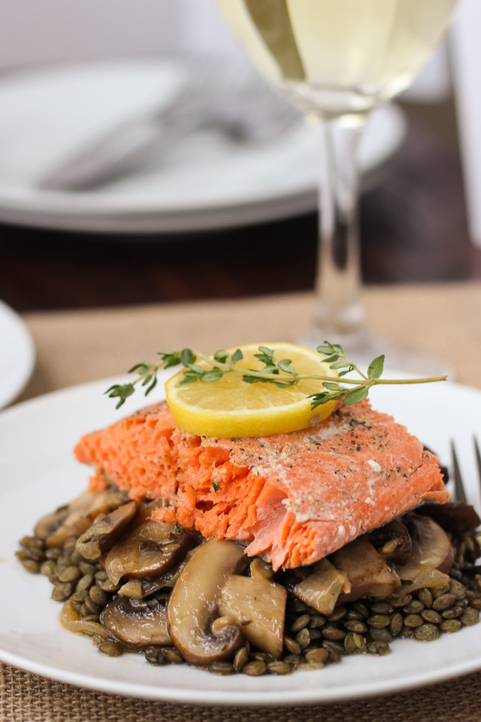 Salmon with Caramelized Mushrooms and Lentils
