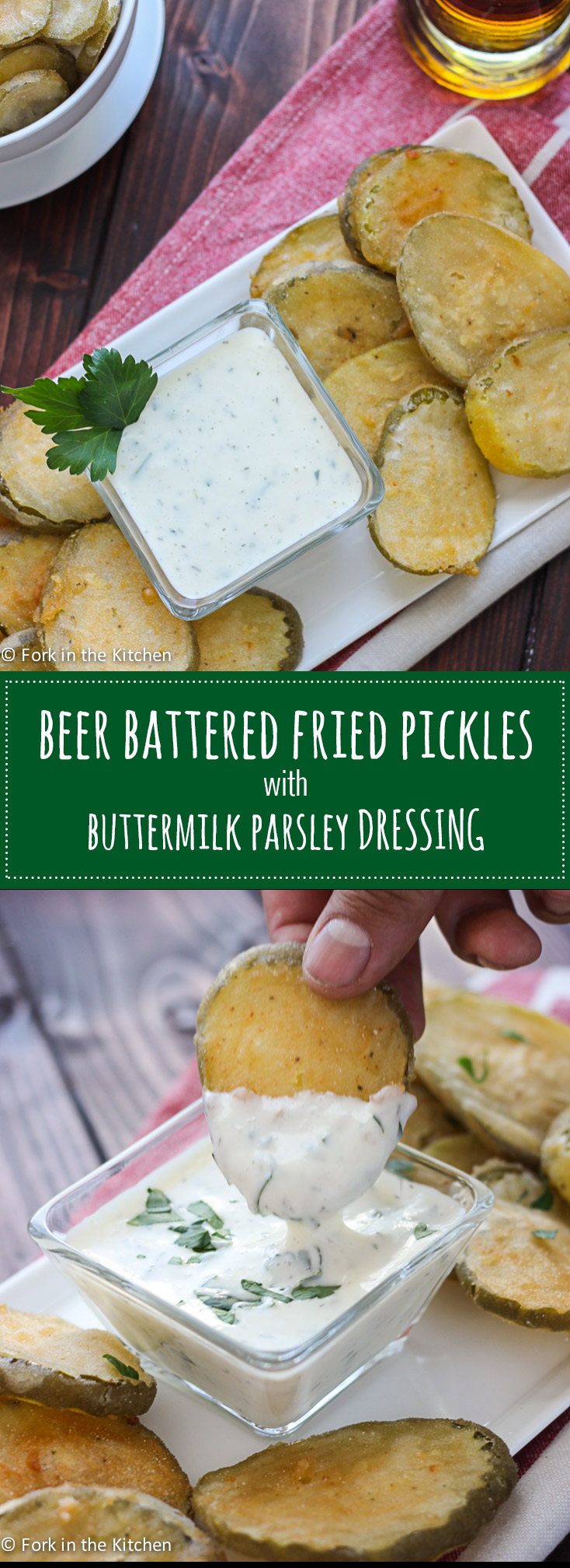 Beer Battered Fried Pickles - crunchy, salty, dill pickles dipped in a light, crisp beer batter coating and fried to perfection. Serve them with a buttermilk parsley dressing for a tasty snack! // Fork in the Kitchen