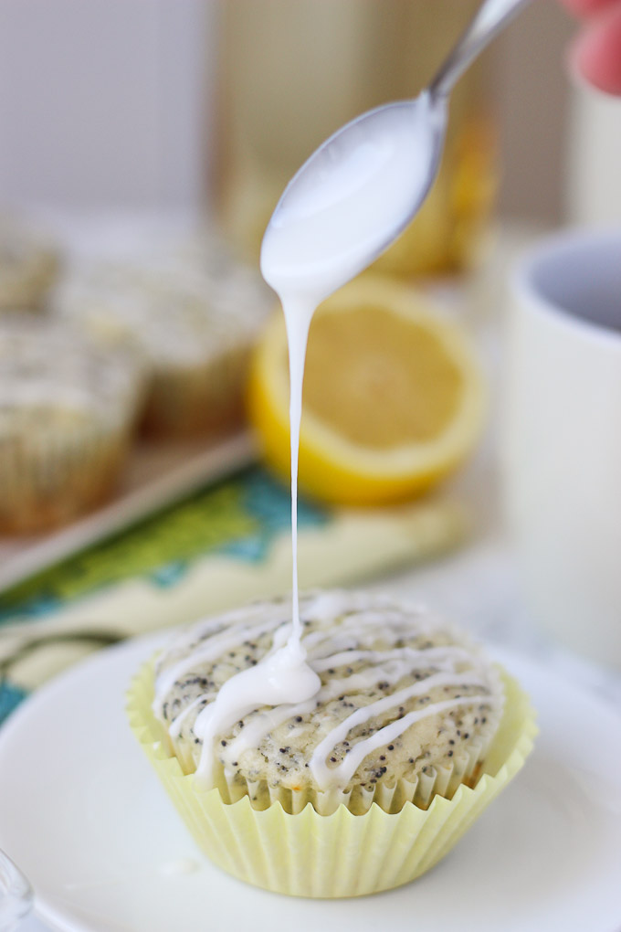 Lemon Poppy Seed Muffins with Almond Icing // www.forkinthekitchen.com