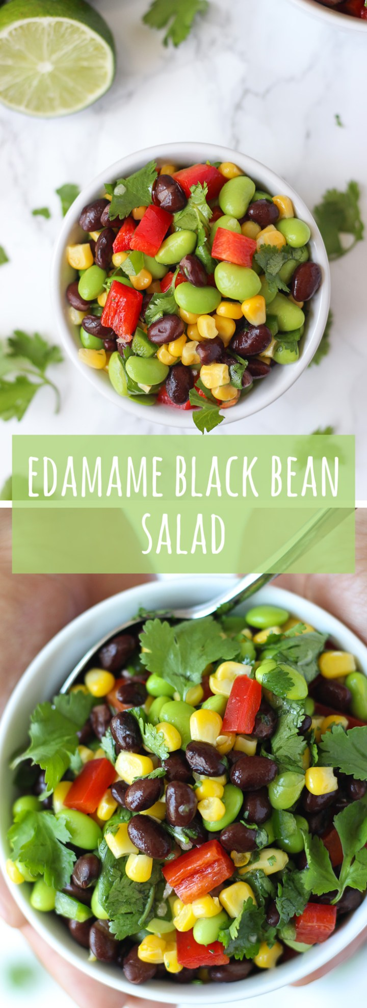 "Edamame Black Bean Salad – a satisfying blend of black beans, edamame, and corn, tossed with a light and refreshing lime dressing. The kind of salad that screams ""summer cookout"". 