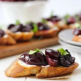 Roasted Cherry & Goat Cheese Crostini