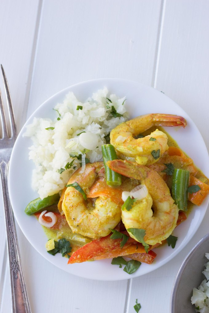 Coconut Shrimp Curry with Cauliflower Rice // Fork in the Kitchen
