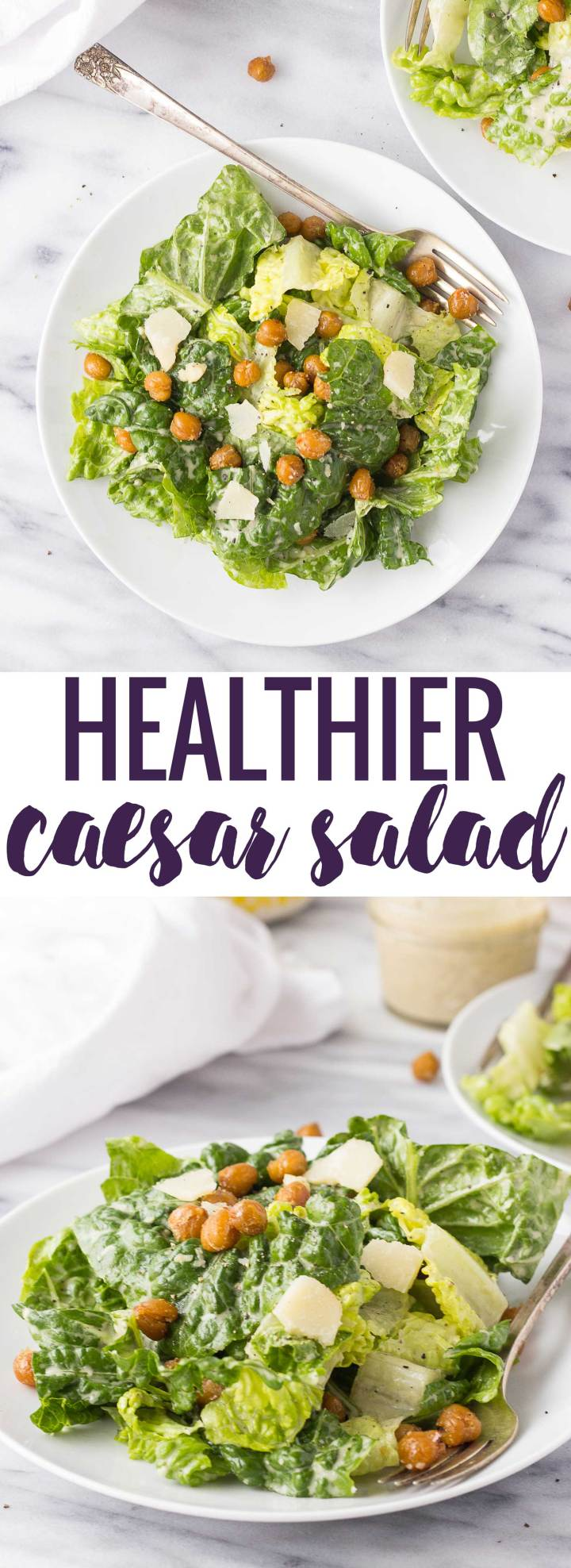 Healthier Caesar Salad - use roasted chick peas for an added flavor and crunch instead of croutons; the homemade dressing is out of this world, too!
