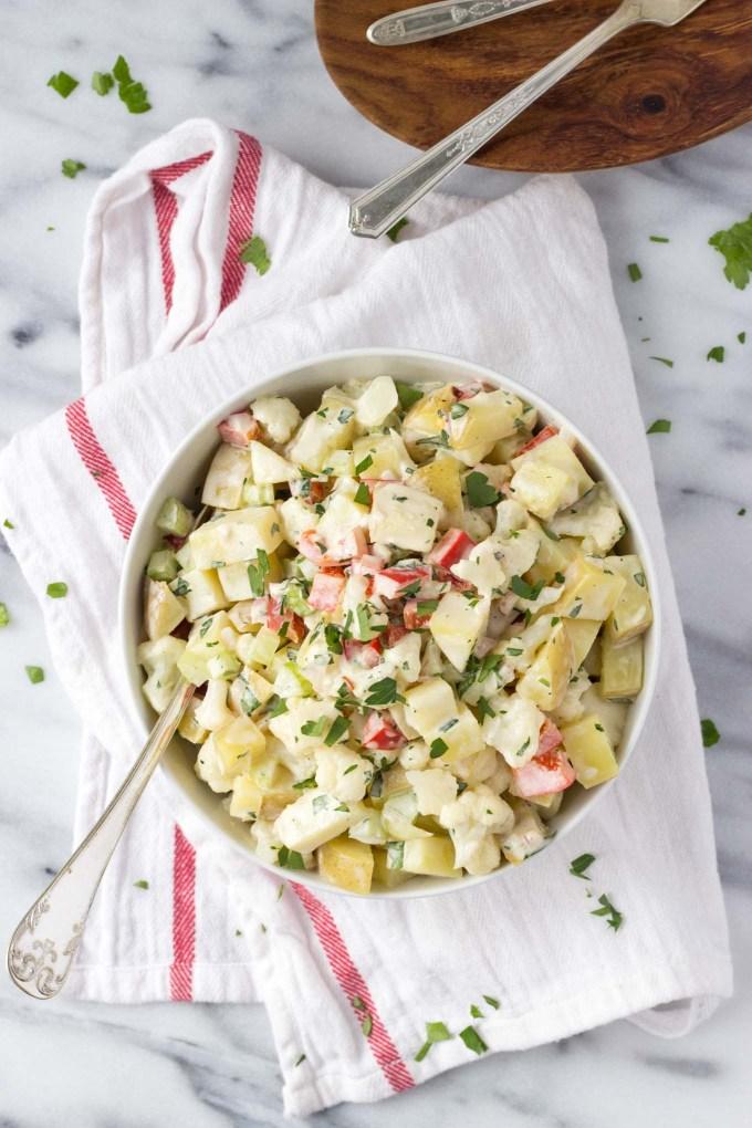 Healthier Potato Cauliflower Salad | Fork in the Kitchen
