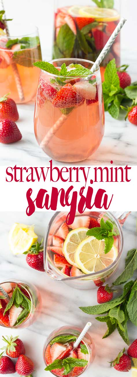 Strawberry Mint Sangria - A light, crisp sangria full of refreshing flavors - strawberries, mint, and lemon meld together for the perfect summer beverage!