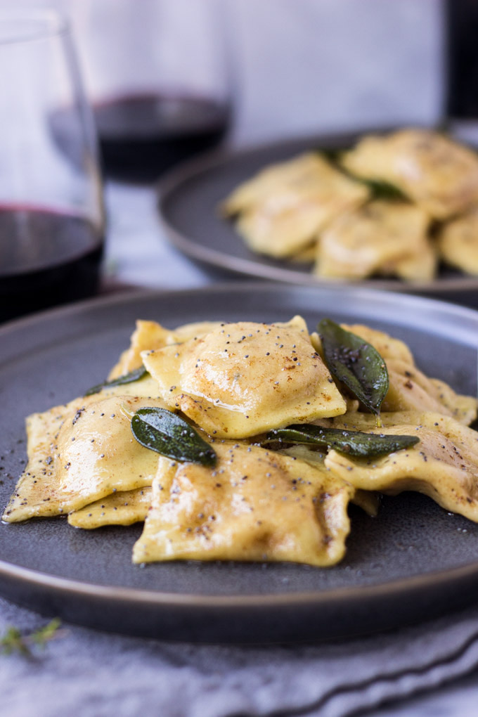 Roasted Butternut Squash Ravioli with Brown Butter Poppy Seed Sauce | Fork in the Kitchen