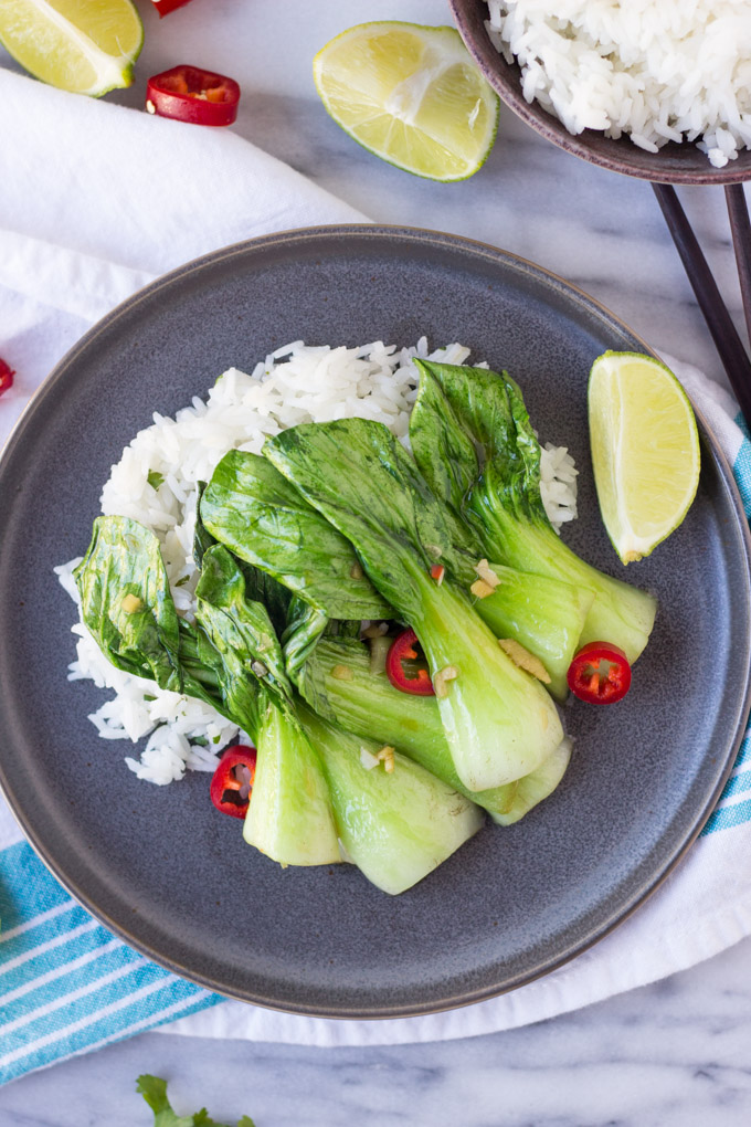Sautéed Baby Bok Choy for Two - an easy, quick, healthy side dish full of flavor! | Fork in the Kitchen