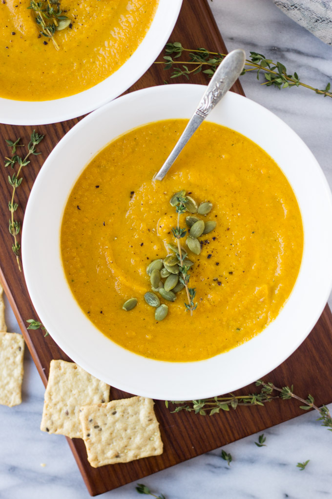 Butternut Squash Sweet Potato Soup - a creamy, comforting vegan soup, made in 30 minutes in one pot! Perfect for winter nights!   Fork in the Kitchen