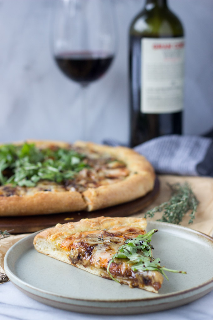 A slice of Caramelized Onion and Sweet Potato Pizza | Fork in the Kitchen