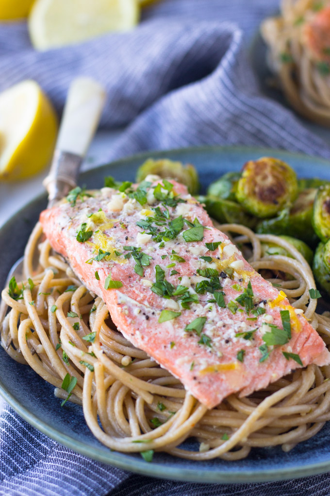 Garlic Lemon Butter Salmon Pasta | Fork in the Kitchen