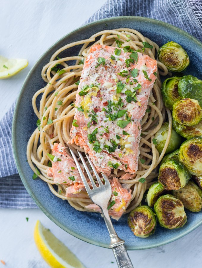 Garlic Lemon Butter Salmon Pasta