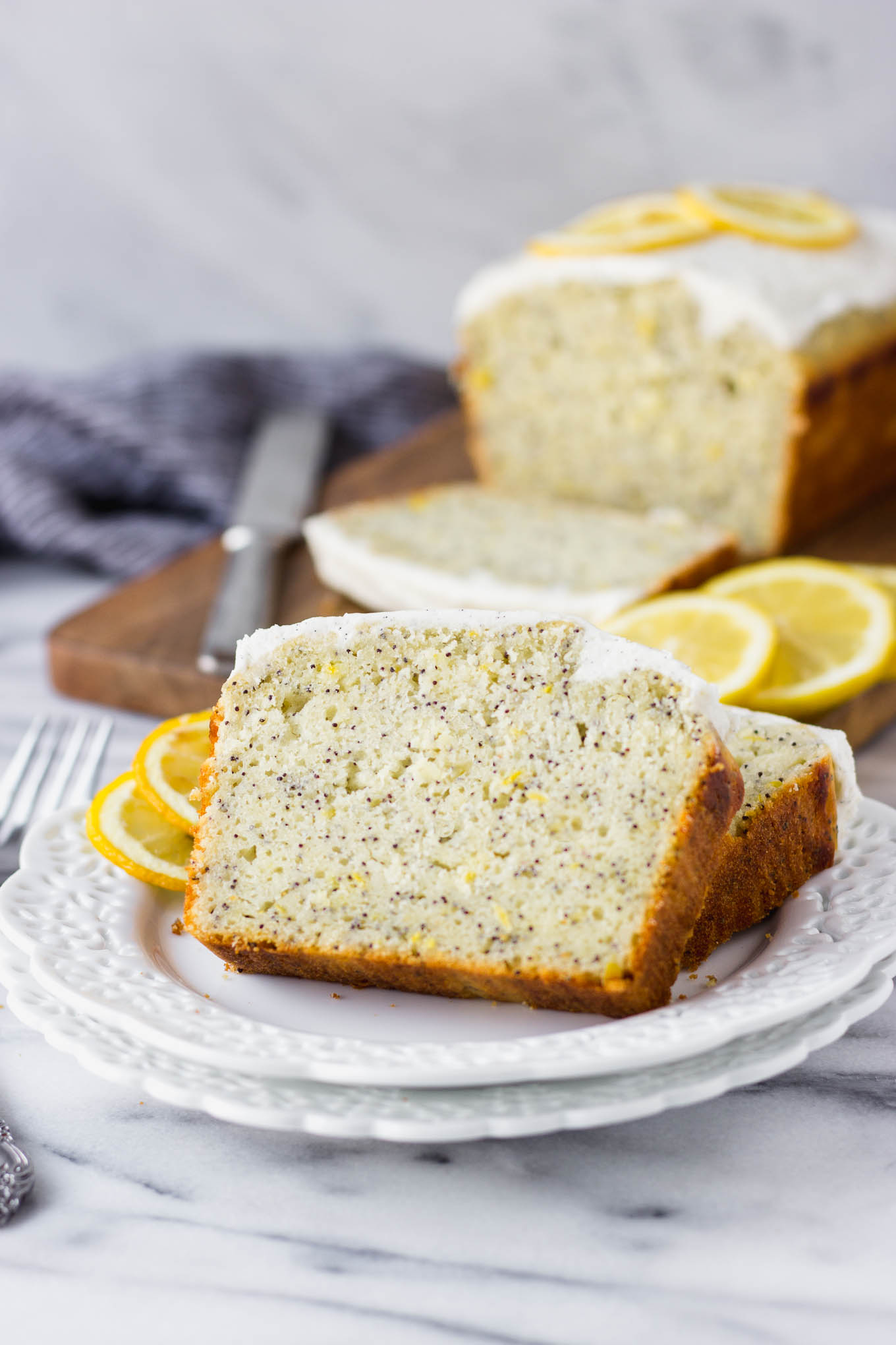 Lemon Poppy Seed Bread with Vanilla Bean Icing | Fork in the Kitchen