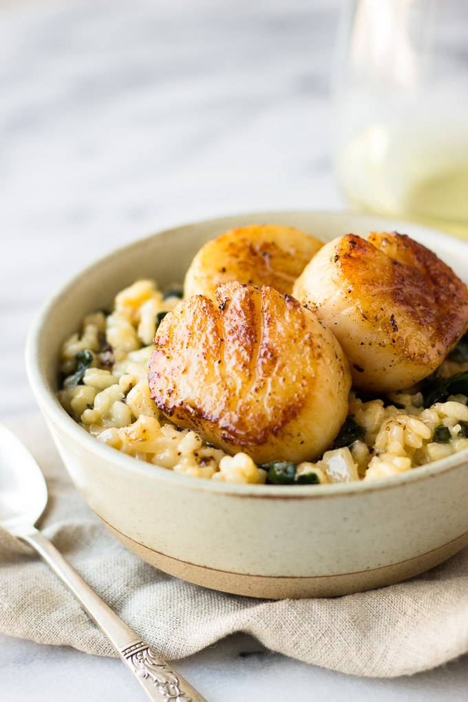 Parmesan Kale Risotto with Scallops for Two