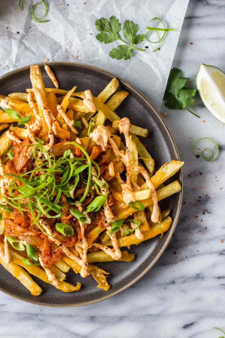 Loaded Kimchi Fries - crispy cheese fries, spicy, and full of flavor, an excellent appetizer or side! | Fork in the Kitchen