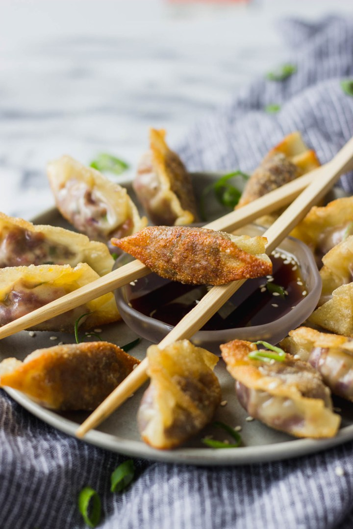 Vegetable Potstickers with Ponzu Sauce - homemade vegetarian potstickers that are easy to make, and full of flavor! Serve with homemade ponzu sauce for a gourmet appetizer!   Fork in the Kitchen