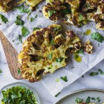 Roasted Cauliflower Steaks - a flavorful spice mix over creamy roasted cauliflower. A simple vegetarian dinner! | Fork in the Kitchen