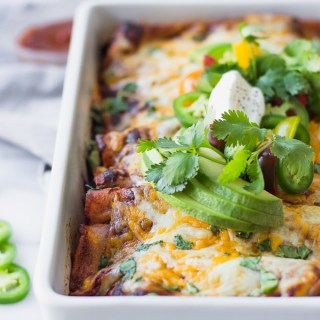 Double Bean and Corn Enchiladas - a flavorful vegetarian Mexican dinner with homemade enchilada sauce! | Fork in the Kitchen #vegetarian #dinner #recipe