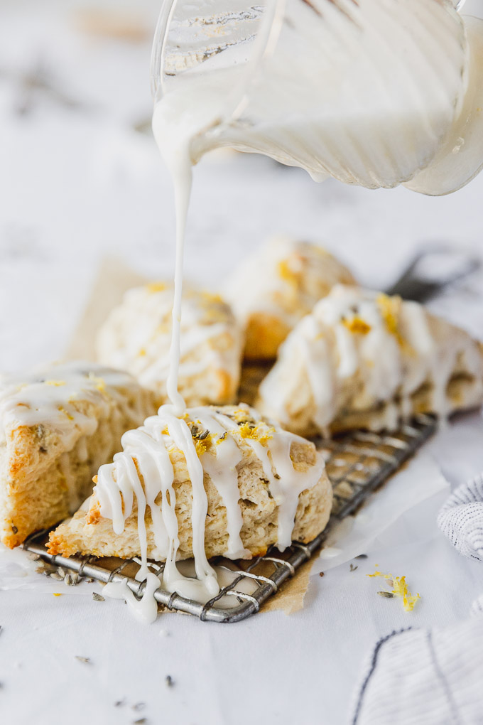 drizzle icing on lavender scones